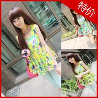 2013 summer tropical flower color block ruffle sweep sleeveless vest chiffon shirt