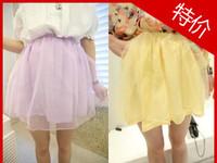 2013 beautiful double layer organza short fluffy half-length skirt