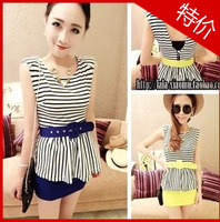 2013 pads horizontal stripe faux two piece set skirt hip slim one-piece dress belt