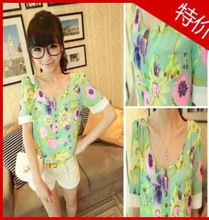 Lidar 2013 shirt flowers summer women's loose short-sleeve chiffon fancy shirt