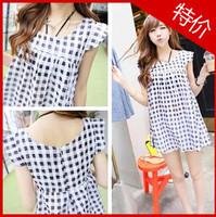 2013 . plain plaid one-piece dress cute shirt -
