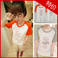 Summer women's 2013 car raglan sleeve o-neck short-sleeve T-shirt