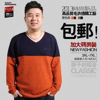 Plus size men's clothing sweater male V-neck personality color block plus size plus size male sweater male sweater