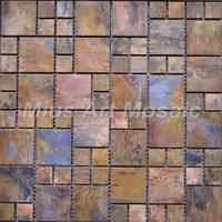 [Mius Art Mosaic] Copper mosaic tile with antique bronze finish  for backsplash tile A6YB005