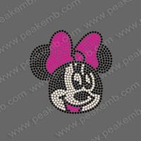 Free Shipping 30Pcs/Lot Cheap Rhinestone Transfer Minnie Mouse Hotfix Motif Design Iron On Patterns Wholesale