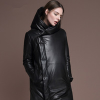 2013 Fashion women's leather down jacket leather down coat genuine leather with  fur collar