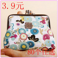 2013 cheapest free shipping vintage women's coin purse lady wallet vintage pouch        preppy style flower cloth  case  bag