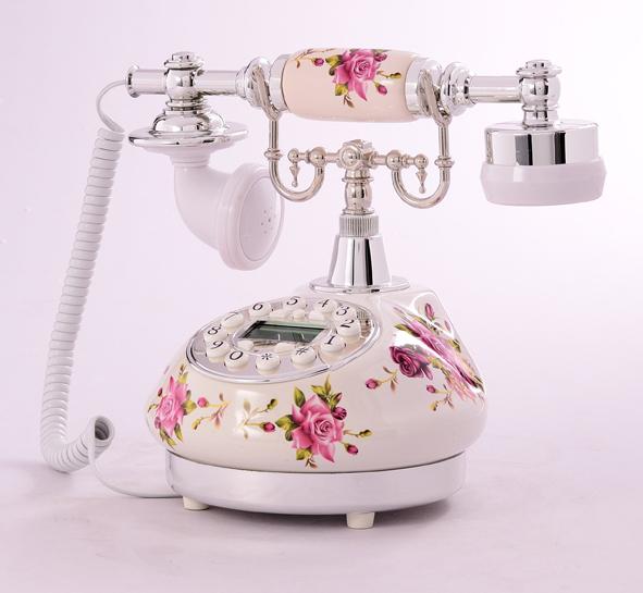 Rustic fresh telephone ceramic vintage telephone retro corded telephone korean style telephone nice home decoration(China (Mainland))