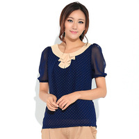 Women Plus Size XXXXL Polka Dots Short Sleeve Chiffon Blouse Free Shipping d5357