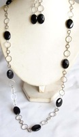 "Oval Black Onyx Cut Faced Necklace Earrings Set Long 30"" Link Chain"
