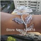 Wholesale handmade Tibet tibetan miao silver hand carved Men `s white roses bracelet fashion jewelry # 001 PJY