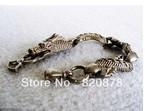 Wholesale Tibet tibetan miao silver hand carved dragon Head Men`s bracelet fashion jewelry#001