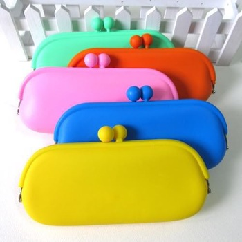 Rubber Silicone Pouch Purse Wallet Glasses Cellphone Cosmetic Coin Bag Case