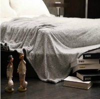 "BK-07 2013 New Super Soft Coral Fleece Blanket Throw Bed Sheet Spread Solid Grey Color 180x200cm(70""x80"")  Free Shipping"