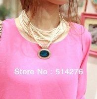 2013 Fashion Simulated Pearl Chockers Necklace Statement Necklace Superstar Style, 3 colors  Free Shipping