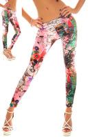 2015 Hot Sale Fashion Womens Leggings Korean Popular Mid Waist Legging Graffiti Skinny Pants 13540