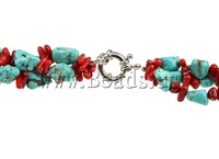 Free shipping!!!Coral Necklace,High Quality Jewelry, Natural Coral, with Natural Turquoise, brass sprin rin clasp, two-tone