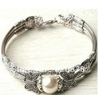 free shipping wholesale Jewelry tibet silver white sea shell pearl bracelet Fashion jewelry