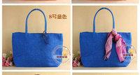 Blue Casual Simple wild shoulder straw bag, woven package weaving Beach Tote Shoulder Big Bag Shopping Bag