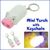 Mini Pig Torch Flashlight Key Chain Cute Pig 2 LED Keychain Light Keyring 10pcs/lot