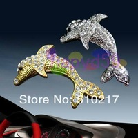 2pcs car badge 3D metal personal crystal diamond dolphin car stickers decoration stickers modified sticker car accessories