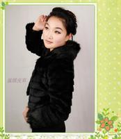 Black fox fur collar sweet thick thin faux design short outerwear female outerwear