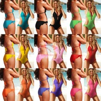 One-piece swimsuit pad swimwear solid color 8 vs003 swimwear
