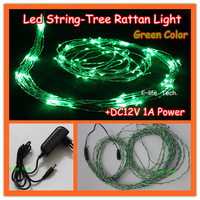 Free Shipping! Green Color IP67 Waterproof Led String Tree Rattan Christmas Lights+DC12V 1A Power for Outdoor Holiday Decoration