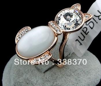 elegant creative fashion gold Plutus cat opal crystal ring for women