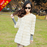 2012 medium-long white fur coat top fashion star style autumn and winter long-sleeve white customize