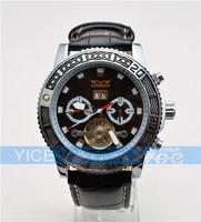 Free Shipping Drop Ship New JARAGAR Jaragar Men Gent Black Tourbillon Date Vintage Mechanical Watch