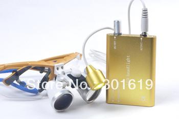 Brand New Yellow  Dentist Dental Surgical Medical Binocular Loupes 3.5X 320mm Optical Glass Loupe + LED Head Light Lamp