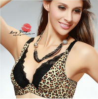 Free shipping 2013 New Hot Leopard Print radiation protection gather deep V bud silk sexy bra band inserts W5043