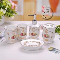 Free shipping Fashion ceramic bathroom set shukoubei bathroom toiletries kit gift box