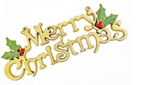 Promotion wholesale Christmas tree ornaments decoration 30cm Golden Merry Christmas Word Plate Free shipping