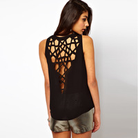 Brand design womens sexy tank with cut out design in back for dropship and freeshipping