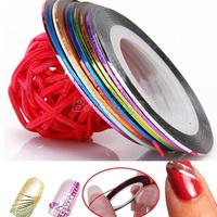10 Color /bag 20m Rolls Nail Art UV Gel Tips Striping Tape Line Sticker DIY Decoration 00MB