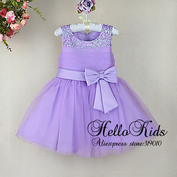 2014 New Toddler Girl Dresses Purple Girl Party Dresses With Bow For