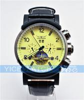 Original JARAGAR brand Luxury Tourbillon Automatic Mechnical Wrist Mens Watch black leather dress fashion style free ship