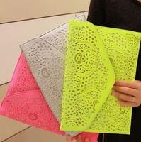 2014 New Fashion Hollow Messenger Bags Envelope Evening Bags Women Printing Shoulder Bags Bolsas Femininas   MX38