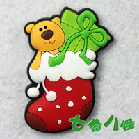 Popular refrigerator stickers cartoon magnets whiteboard magnet bear christmas socks 50LCS/Lot