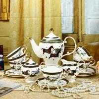 free shipping Luxury fashion bone china tea set 15 isonuclear allocytoplasmic coffee gift box