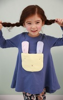 free shipping ,cute high quality pure cotton baby girs's dress cartoon rabbit  Long sleeve t-shirt children tops 2013 new