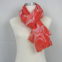 2013 New Arrival Fashion Style The Lovely Starfish Shawl Voile Scarf for Women,90*180,Free Shipping