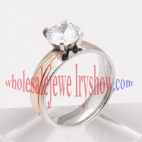 1PC Free shipping new 18K Gold Plated Classic design 1 carat 6mm simulated wedding rings for women jewelry