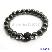 free shipping fashion 12mm lava stone with 10mm hematite beaded bracelets jewelry