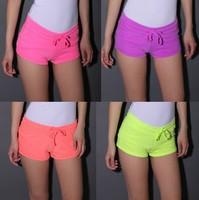 American Apparel f21 fashion sexy summer women Neon color beach sport shorts Package hip Low-waist drawstring shorts