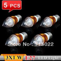 5Pcs E27 3w Bridgelux White/Warm white Candel LED Light Blub Lamp Energy saving AC85~265V