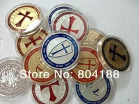 Free Shipping 300pcs/lot Wholesale 1oz Knights Templar Coin 24K Gold/Silver Clad Plated [HOT SALE] souvenir metal souvenir coin