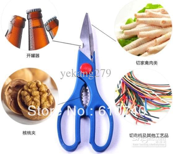 Atacado - 15 PCS multi-função tesoura de aço inoxidável tesoura abridor de garrafa de cerveja Nutcrackers cozinha escritório(China (Mainland))
